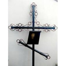 Крест могильный из металла сварной с элементами ковки №001