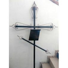 Крест могильный из металла сварной с элементами ковки №004