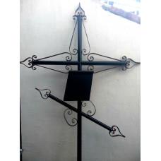 Крест могильный из металла сварной с элементами ковки №006