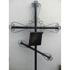 Крест могильный из металла сварной с элементами ковки №023