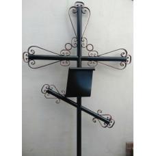Крест могильный из металла сварной с элементами ковки №024