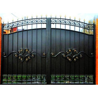 Кованые Ворота металлические с врезанной калиткой, на столбах №022. Производство: Украина