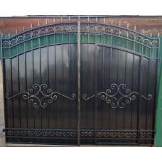 Кованые Ворота металлические с врезанной калиткой, без столбов №022. Производство: Украина, Одесса